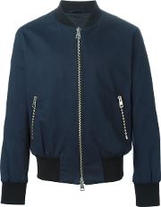 Zipped Bomber Jacket Men Cottonacetate L, Blue