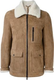 Zipped Shearling Jacket Men Sheep Skinshearling L, Nudeneutrals