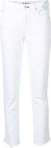 Cropped Distressed Jeans Women Cottonspandexelastane 26, White
