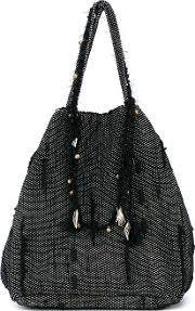 Woven Charm Tote Bag Women Cottonleatherpolyester One Size, Black