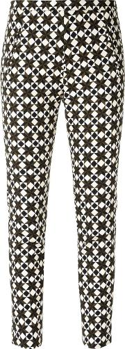 All Over Print Trousers Women Cottonspandexelastane 42, Women's, Black