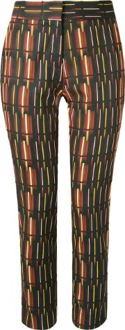 Mid Rise Printed Straight Trousers Women Acetatecottonspandexelastane 36, Brown