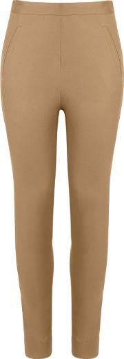 Mid Rise Skinny Trousers Women Cottonspandexelastane 36, Brown