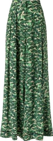Silk Palazzo Pants Women Silk 38, Green