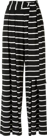 Striped Trousers Women Silkspandexelastane 38, Women's, Black