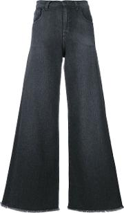 Andrea Ya'aqov Raw Hem Wide Leg Jeans Women Cottonspandexelastane 29, Grey