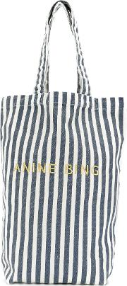 Anine Bing Striped Tote Women Cotton One Size, Blue