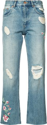 Distressed Cropped Jeans Women Cotton 24, Women's, Blue