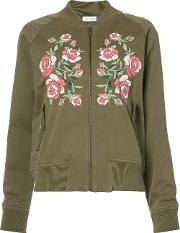 Embroidered Bomber Jacket Women Cottonviscose S, Women's, Green