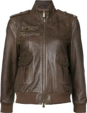 Pilot Jacket Women Calf Leatherviscose M, Brown