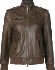 Pilot Jacket Women Calf Leatherviscose S, Women's, Brown
