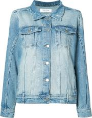 Vintage Wash Denim Jacket Women Cotton Xs, Blue