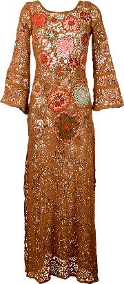 Floral Embroidery Dress Women Cottonpolyamidepolyester M, Brown