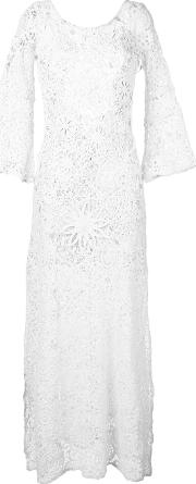 Floral Embroidery Dress Women Cottonpolyamidepolyester M, White