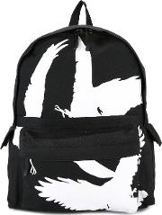 Bird Print Backpack Men Cotton One Size, Black