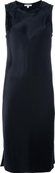 Cutout Neck Dress Women Silk 40, Black