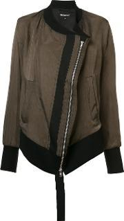 Diagonal Zip Bomber Jacket Women Cottoncuprorayon 38, Women's, Green