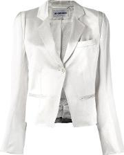 Glossy Effect Cropped Jacket Women Cottonlinenflaxrayontriacetate 38, Women's, White