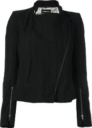 Off Centre Zip Jacket Women Cotton 36, Black