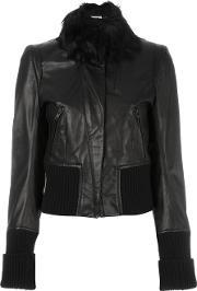 Ribbed Detailing Cropped Jacket Women Cottonleatherrayon 38, Women's, Black