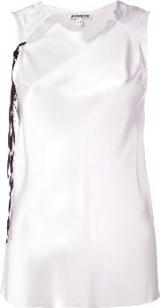 Sleeveless Collar Cutout Blouse Women Silk 36, White