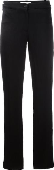 Straight Leg Trousers Women Cottonlinenflaxrayontriacetate 40, Black
