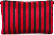 Striped Flat Clutch Women Cotton One Size, Women's, Red