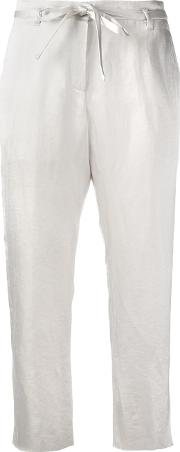 Tapered Cropped Trousers Women Cottonlinenflaxrayontriacetate 36, White