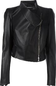 Zipped Biker Jacket Women Cottonleatherviscose 40, Women's, Black