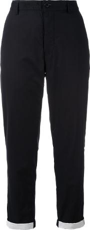 Tapered Cropped Trousers Women Cotton 40, Black