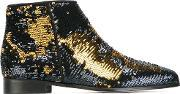 'blazing Wave' Sequinned Ankle Boots Women Leatherpvc 37, Women's, Black