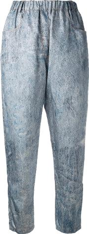 Denim Print Trousers Women Silkpolyamidepolyester S, Blue