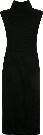 Anrealage High Neck Ribbed Knit Dress Women Wool 38, Black