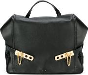 Top Handle Backpack Women Calf Leather One Size, Black