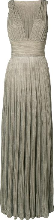 Pleated Plunge Neck Gown