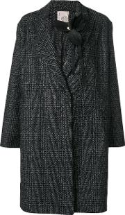 Brooch Detail Checked Coat