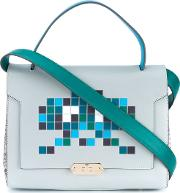 'space Invaders' Bathurst Satchel Women Leatherpython Skinsuede One Size, Women's, Blue