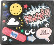 All Over Stickers Wallet Men Calf Leather One Size