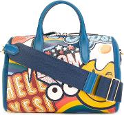 Giant Stickers Tote Women Leather One Size, Blue