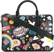Multiple Patches Briefcase Men Leather One Size, Black