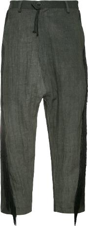 Cropped Fringe Trousers Women Linenflax S, Grey