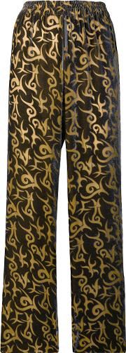 Straight Leg Patterned Trousers