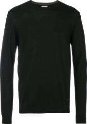 Armani Collezioni Crew Neck Sweater Men Virgin Wool 52, Black