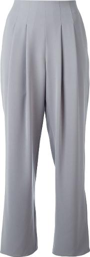 Pleated Cropped Trousers Women Polyester 44, Women's, Grey
