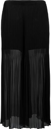 Pleated Detail Flared Pants Women Polyester 38, Black