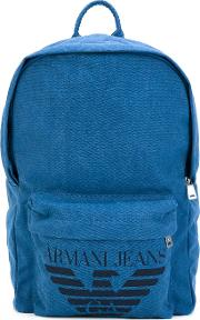 Logo Print Backpack Men Cottonpolyesterpolyurethaneviscose One Size, Blue