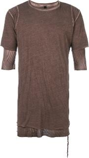 Army Of Me Ribbed Hem Layered T Shirt Men Cotton S, Brown