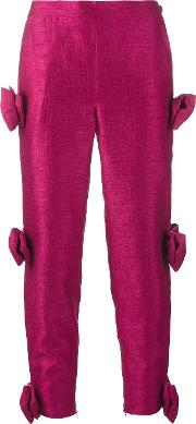 Bow Embellished Cropped Trousers Women Polyester S, Pinkpurple