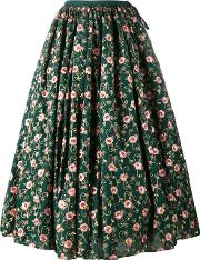 Floral Embroidered Skirt Women Cotton L, Green