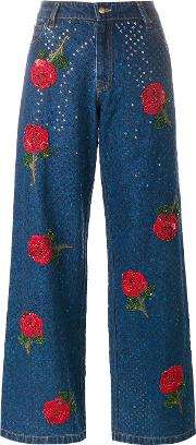 Rose Embroidered Sequin Jeans Women Cotton L, Blue